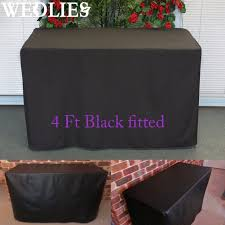 4ft fitted black trestle table cover polyester folding function