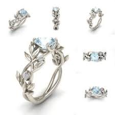leaf engagement ring women 925 silver aquamarine floral ring flower vine leaf