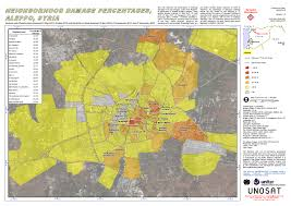 Syria Battle Map by Neighborhood Damage Percentages Aleppo Syria Unitar