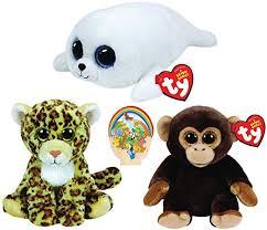 amazon ty beanie babies bananas monkey u0026 spotty leopard icy