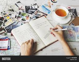 writing concept papers hands writing travel journal tea concept stock photo stock hands writing travel journal tea concept