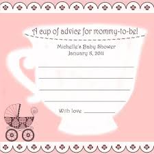 baby shower teacup advice cards for baby 12 personalized tea