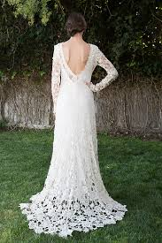 Long Sleeve Lace Wedding Dress Open Back Low Back Bohemian Wedding Dress Crochet Lace Dress Long