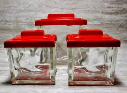 glass canister set napco glass block canisters retro kitchen