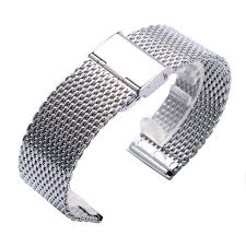 silver mesh bracelet with images High quality 20 22mm silver stainless steel men watch band web jpg