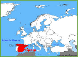 spain on a map spain location on the europe map