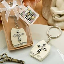 religious party favors 12 cross plaque keychains religious bridal shower wedding favors