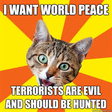 Evil Cat Meme - i want world peace terrorists are evil cat meme cat planet cat