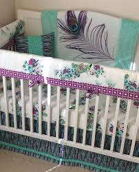 Purple And Teal Crib Bedding Peacock Crib Bedding In Teal And Purple A Personal Favorite From
