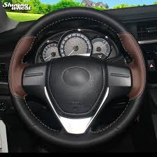 toyota corolla steering wheel cover shining wheat palm black leather car steering wheel cover for
