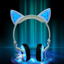 light up cat headphones light up cat ears headphones felign