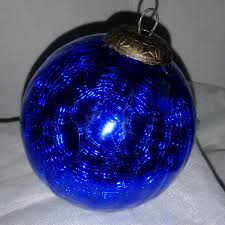 kugel midwest ornament cobalt blue crackle glass