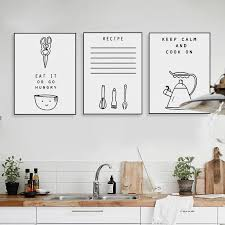 black and white kitchen framed pictures black and white food quotes posters prints nordic style minimalist kitchen home decor big wall pictures canvas painting no frame