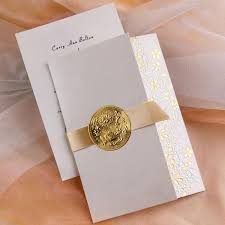 elegant gold embossed floral art deco tri fold wedding invitation
