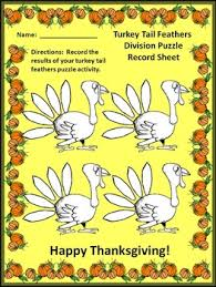 activities turkey feathers division puzzles math activity