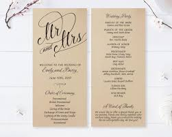 cardstock for wedding programs mr and mrs wedding programs printed on kraft cardstock