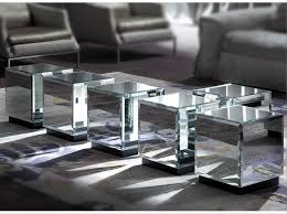 Mirror Glass Coffee Table by Low Square Mirrored Glass Coffee Table Riflesso By Erba Italia