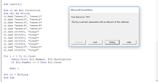generic way to check if a key is in a collection in excel vba