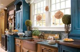 Blue Kitchen Cabinets Excellent Two Tone Style Kitchen With Cream Color Wooden Kitchen
