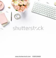 office table desk laptop computer magazines stock photo 576364261