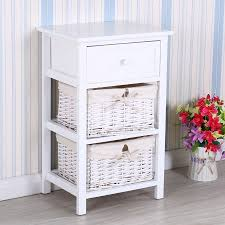 uenjoy retro white shabby chic nightstand end side bedside table w