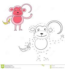 connect the dots game monkey vector illustration stock vector