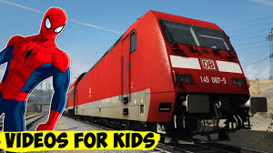 trains cartoon for children in spiderman train video for kids with