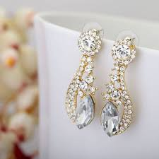 bridal necklace earring images Gold plated crystal bridal earrings bridal jewelry sets wedding jewell jpg