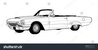 vintage convertible vintage luxury convertible line drawing vector stock illustration