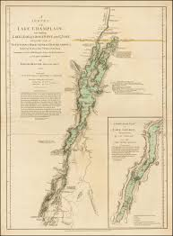 1775 Map Of Boston by The First Printed Map Of Lake Champlain Used By Burgoyne Rare