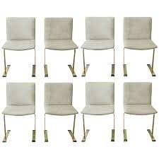 rare set of eight brass colored saporiti italian dining chairs at