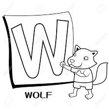 coloring alphabet for kids w with wolf royalty free cliparts