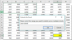 how to delete same rows or ranges across multiple sheets in excel