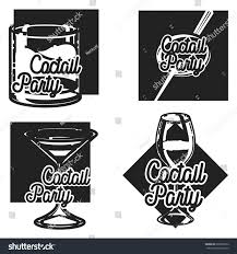retro cocktail party vintage cocktail party emblems stock vector 628608512 shutterstock