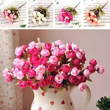Peony Arrangement Online Cheap Artificial Red Rose Spring Flowers 18 Flower Heads
