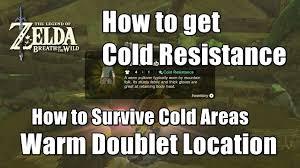 zelda breath of the wild warm doublet location how to survive