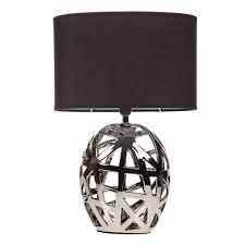 geometric cut out chrome table lamp