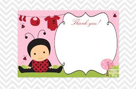 ladybug baby shower thank you card instant download you