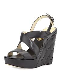 lyst michael michael kors bennet leather wedge sandal in black