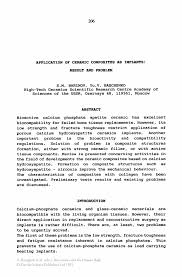what is abstract in thesis application of ceramic composites as implants result and problem bioceramics and the human body bioceramics and the human body