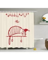winter shopping deals on christmas shower curtain set fun cat