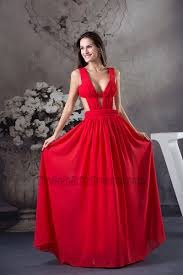 celebrity inspired red chiffon evening dress prom gown