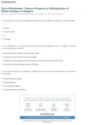 quiz u0026 worksheet closure property for multiplication of whole