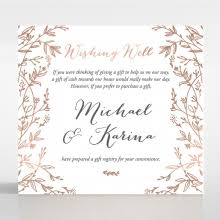 wedding registry invitation floral pattern in hot sted foil premium paper raised ink