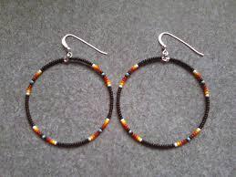 hoop beaded earrings american black multi beaded hoop earrings bead earrings