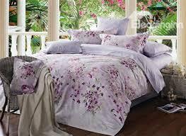 Lilac Bedding Sets Exquisite Lilac Floral Print Cotton 4 Duvet Cover Bedding