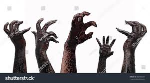 halloween theme background bloody hands on white background zombie stock photo 308939267