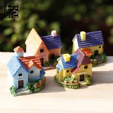 zakka resin mini villa model house ornament crafts diy