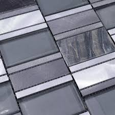 Stone  Metal Blend Brushed Stainless Steel Marble Floor Tile MG - Glass and metal tile backsplash