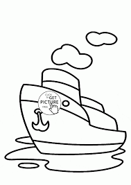 cartoon small steamship coloring page for kids transportation